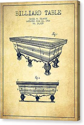 Billiard Table Patent From 1900 - Vintage Canvas Print by Aged Pixel