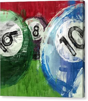 Billiards 6 8 10 Canvas Print by David G Paul