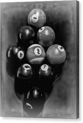 Billiards Art - Your Break - Bw  Canvas Print by Lesa Fine