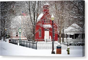 Billie Creek Village Winter Scene Canvas Print by Virginia Folkman