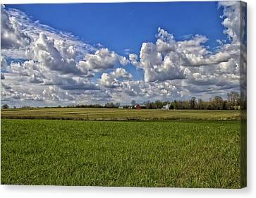 Billow Skies On Green Canvas Print by Bill Tiepelman