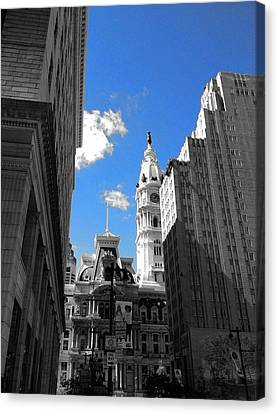 Canvas Print featuring the photograph Billy Penn Blue by Photographic Arts And Design Studio