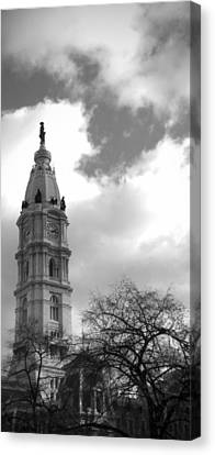 Billy Penn Vertical Bw Canvas Print by Photographic Arts And Design Studio