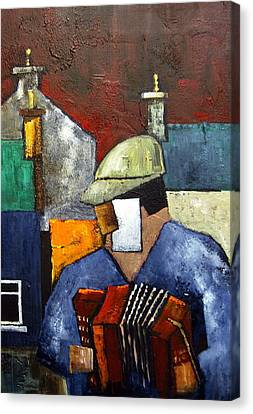 Billy The Busker Canvas Print by Val Byrne