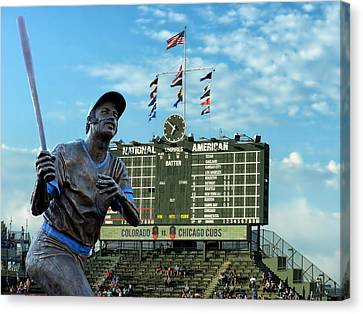 Billy Williams Chicago Cub Statue Canvas Print by Thomas Woolworth