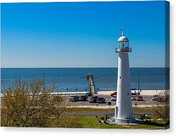 Biloxi Lighthouse And The Gulf Of Mexico Canvas Print by Brian Wright