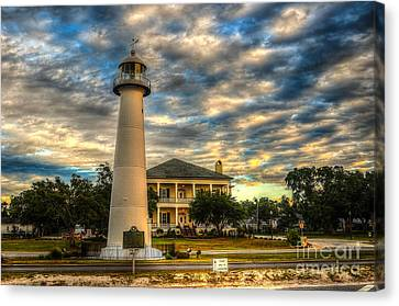 Biloxi Lighthouse And Welcome Center Canvas Print by Maddalena McDonald
