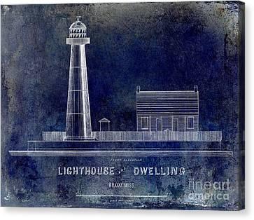 Biloxi Lighthouse Drawing Blue Canvas Print by Jon Neidert
