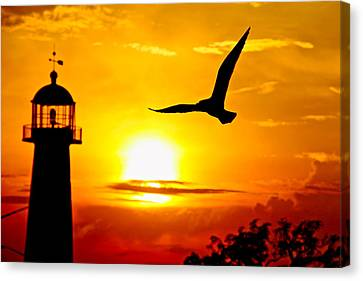 Biloxi Lighthouse Sunset Canvas Print by Jim Albritton