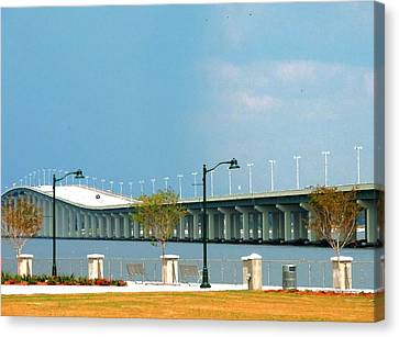 Biloxi - Ocean Springs Bridge Canvas Print by Cathy Jourdan