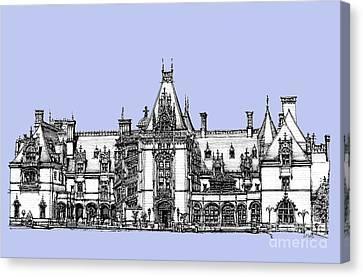 Biltmore Estate In Light Blue Canvas Print by Adendorff Design
