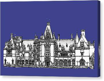 Biltmore Estate In Royal Blue Canvas Print by Building  Art