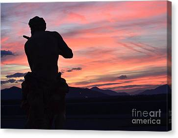 Biltmore Estates Mansion Italian Statue Sculpture At Sunset In Asheville North Carolina Canvas Print