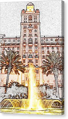 Biltmore Hotel Miami Coral Gables Florida Exterior Entrance Tower Colored Pencil Digital Art Canvas Print by Shawn O'Brien