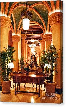 Biltmore Hotel Vintage Lobby Coral Gables Miami Florida Arches And Columns Diffuse Glow Digital Art Canvas Print by Shawn O'Brien