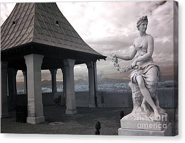 Biltmore Italian Garden Gazebo - Biltmore House Statues Architecture Garden Canvas Print by Kathy Fornal