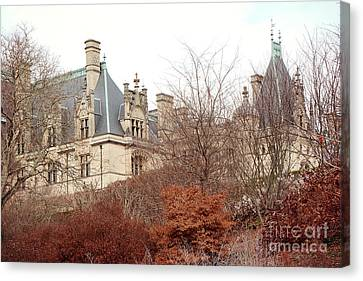 Biltmore Mansion Estate Autumn Fall Season  - Biltmore Estate Ashville North Carolina Autumn  Canvas Print by Kathy Fornal
