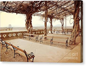Biltmore Mansion Garden Terrace Piazza Overlooking Blue Ridge Mountains Asheville North Carolina Canvas Print
