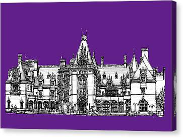 Biltmore Stately Home In Purple Canvas Print by Building  Art