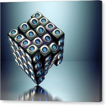 Binary Canvas Print - Binary Cube by Ktsdesign