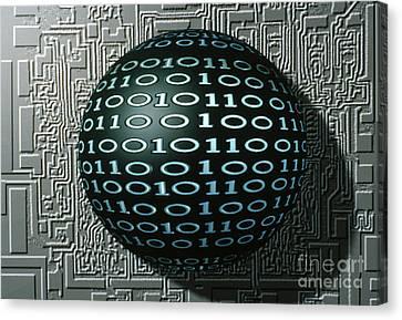 Binary Sphere Canvas Print by Gregory MacNicol