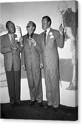 Bing Crosby Jerry Colonna And Bob Hope Canvas Print