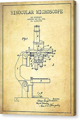 Binocular Microscope Patent Drawing From 1931-vintage Canvas Print by Aged Pixel