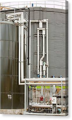 Biodigesters At Sewage Plant Canvas Print by Ashley Cooper