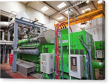 Biogas Boilers At Sewage Plant Canvas Print by Ashley Cooper