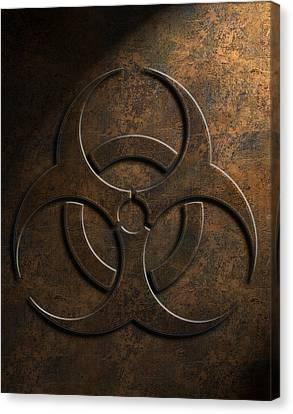 Canvas Print featuring the digital art Biohazard Symbol Stone Texture by Brian Carson