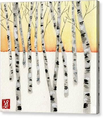 Birch At Sunrise Canvas Print by Jamie Seul