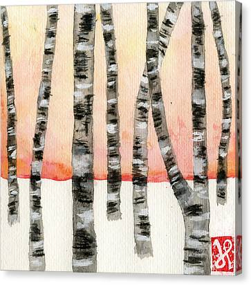 Birch At Sunset Canvas Print by Jamie Seul