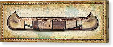 Birch Bark Canoe And Map Canvas Print by JQ Licensing