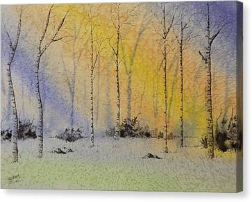 Canvas Print featuring the painting Birch In Blue by Richard Faulkner