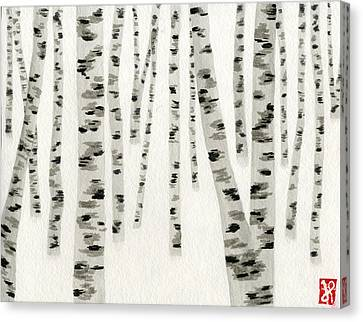 Birch In Snow Canvas Print by Jamie Seul