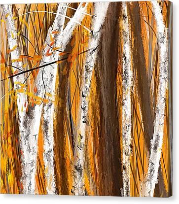 Birch Trees Autumn Canvas Print by Lourry Legarde