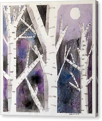 Birch Trees In Moonlight Canvas Print by Ethan Altshuler