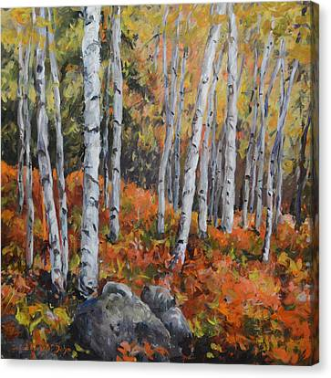 Birch Trees Canvas Print by Alexandra Maria Ethlyn Cheshire