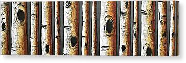 Birches A Touch Of Red Canvas Print by Lori McPhee
