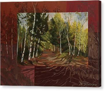 Birches Along The Lane Canvas Print