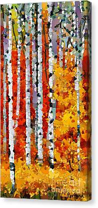 Birches In Autumn Canvas Print by Dragica  Micki Fortuna