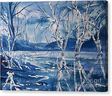 Birches In Blue Canvas Print by Ellen Levinson
