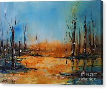 Birches Pond Canvas Print