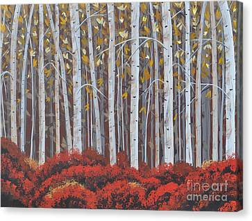 Birches Canvas Print by Sally Rice