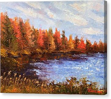 Canvas Print featuring the painting Birchwood Lake by Jason Williamson