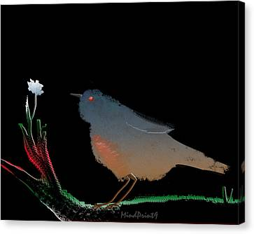 Bird And The Flower Canvas Print by Asok Mukhopadhyay