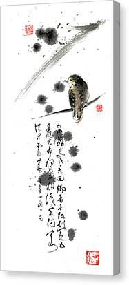 Bird And The Zhang Zhi Poem Calligraphy Sumi-e Original Painting Artwork Canvas Print by Mariusz Szmerdt