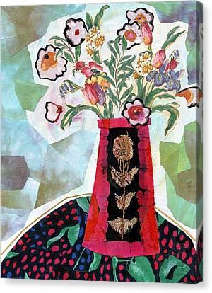 Bird Blossom Vase Canvas Print by Diane Fine