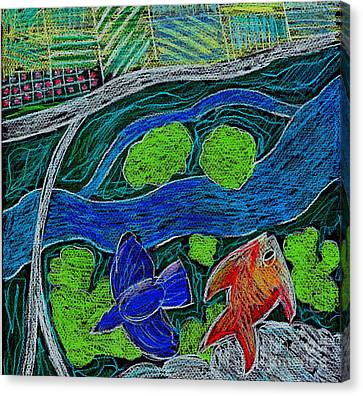 Bird Flying Over Landscape And Fish Swimming In River  Canvas Print by Genevieve Esson