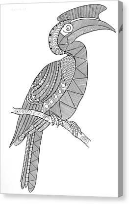 Bird Hornbill Canvas Print by Neeti Goswami